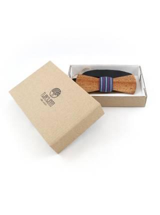 Деревянный галстук-бабочка из массива африканской тиамы с вставкой из льна в полоску