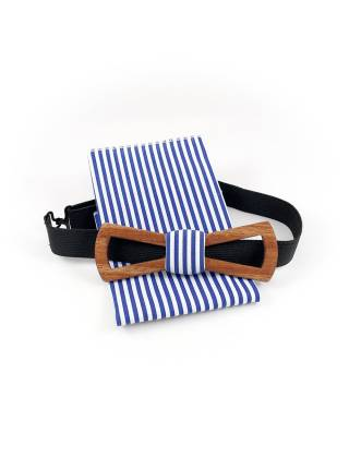 Деревянный галстук-бабочка Эдуард Slim Fresh с платком