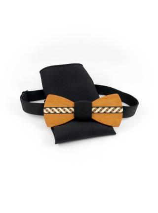 Деревянный галстук-бабочка Маркетри Classic с платком