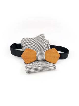 Деревянный галстук-бабочка Пётр Retro с платком