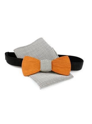 Деревянный галстук-бабочка с черно-белым платком с рисунком гусиные лапки для пиджака