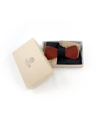 Деревянный галстук-бабочка с черным однотонным платком для пиджака