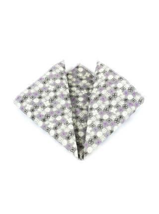 Деревянный галстук-бабочка с серым платком в цветочек для пиджака
