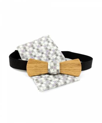 Деревянный галстук-бабочка Twins Bow Ties с серым платком в цветочек для пиджака