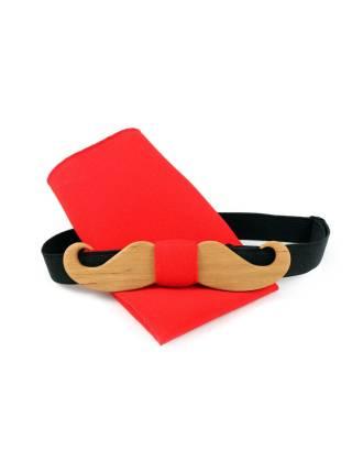 Деревянный галстук-бабочка в виде усов с красным платком для пиджака