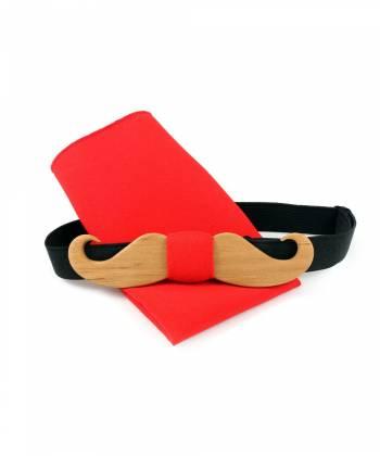 Деревянный галстук-бабочка Twins Bow Ties в виде усов с красным платком для пиджака