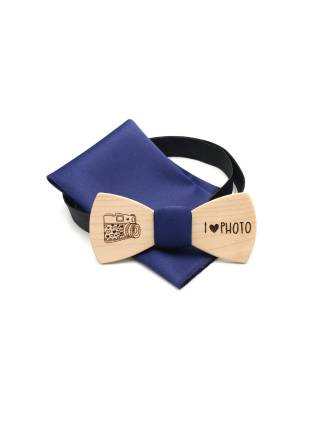 """Деревянный галстук-бабочка Classic с рисунком """"Фото"""" из Клёна с синим платком"""