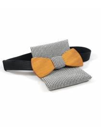 Деревянный галстук-бабочка Петр Classic с платком