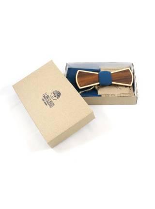 Деревянный галстук-бабочка Slim из двух сортов дерева Ольха и Палисандр с платком