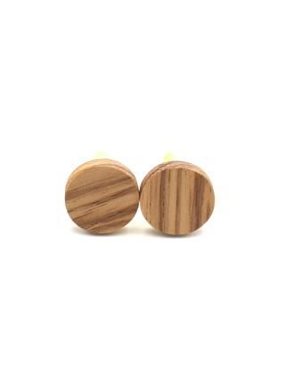 Круглые деревянные запонки из массива африканского Зембрано