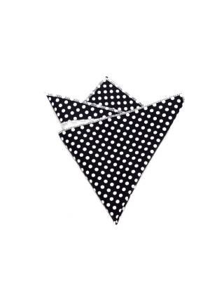 Нагрудный платок черного цвета в белый горошек