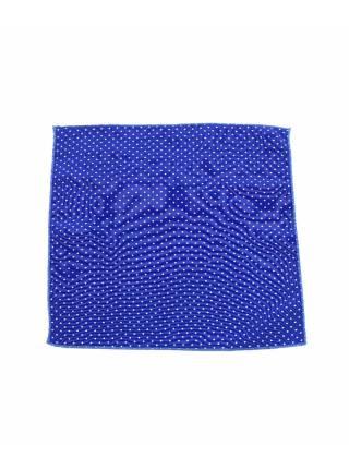 Нагрудный платок синего цвета в белый горошек