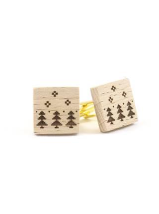 Новогодние запонки из дерева Ёлки