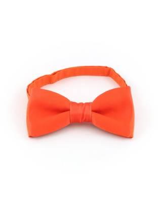 Галстук-бабочка оранжевый однотонный из атласной ткани