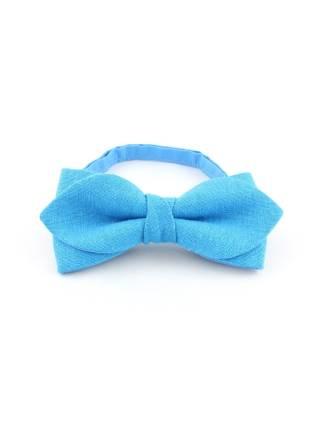 Галстук-бабочка светло-голубой однотонный из льна