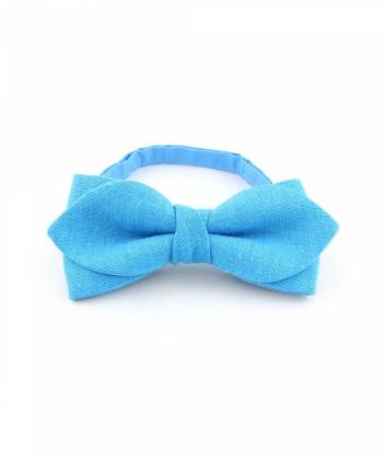 Галстук-бабочка светло-голубой однотонный из льна YAKUT