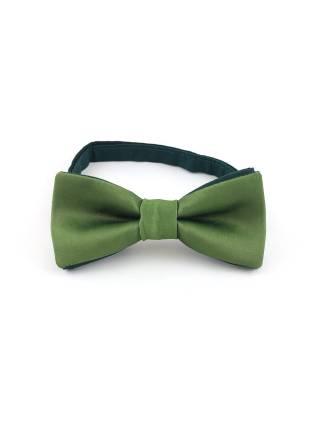 Галстук-бабочка темно-зеленый однотонный из атласной ткани