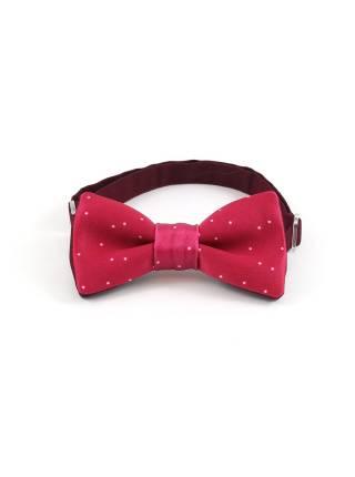 Детский галстук-бабочка бордовый в белую крапинку