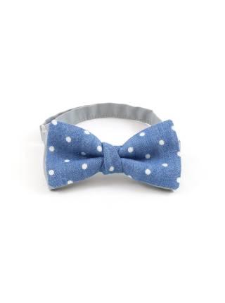 Детский галстук-бабочка голубой в белый горох из джинсовой ткани