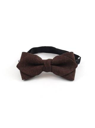 Детский галстук-бабочка коричневый однотонный