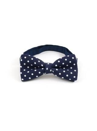 Детский галстук-бабочка синий в белый горошек