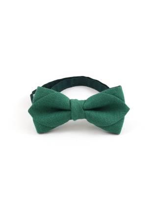 Детский галстук-бабочка зеленый однотонный