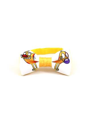Детский галстук-бабочка белый с рисунком КотоПес/CatDog