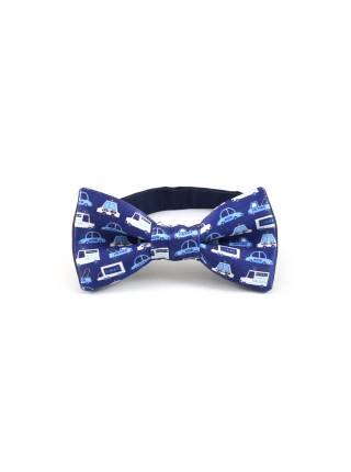 Детский галстук-бабочка синий с рисунком Автомобили