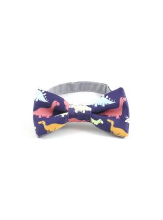 Детский галстук-бабочка синий с рисунком Динозавры