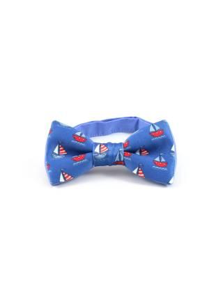 Детский галстук-бабочка синий с рисунком Корабли