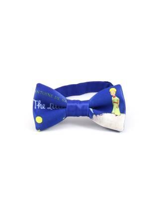 Детский галстук-бабочка синий с рисунком Маленький принц