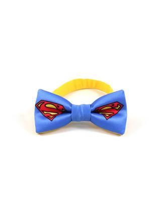 Детский галстук-бабочка синий с рисунком Супермен / Superman
