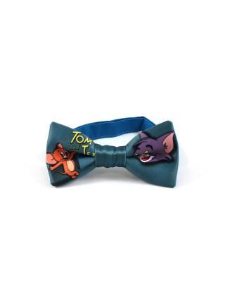 Детский галстук-бабочка цвета морской волны с рисунком Том и Джерри/Tom and Jerry