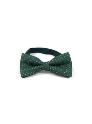 Детский галстук-бабочка зелёный в белый горошек из хлопка