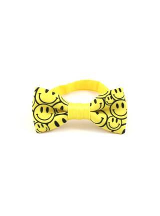 Детский галстук-бабочка желтый с рисунком Смайлы