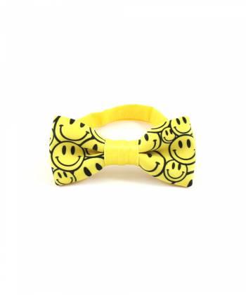 Детский галстук-бабочка желтый с рисунком Смайлы YAKUT