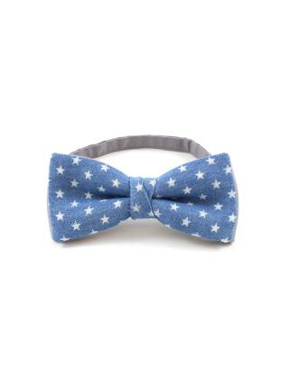 Галстук-бабочка из джинсов синего цвета со звёздами