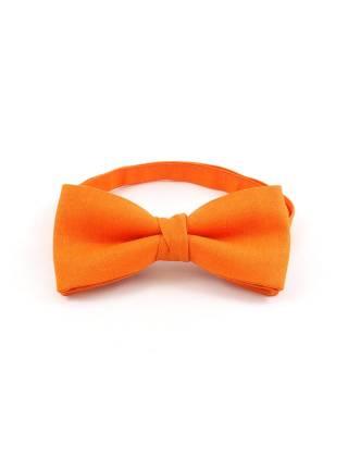 Галстук-бабочка оранжевый однотонный из хлопка