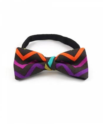 Галстук-бабочка разноцветная с рисунком зиг-заг из хлопка YAKUT
