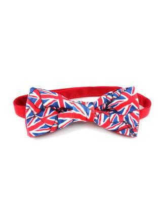 Галстук-бабочка с британскими флагами из атласа