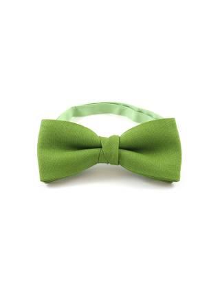 Галстук-бабочка зеленый однотонный из хлопка