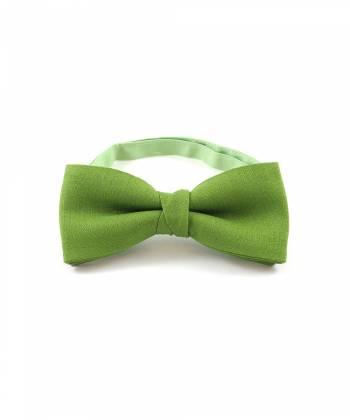 Галстук-бабочка зеленый однотонный из хлопка YAKUT