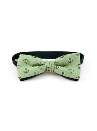 Галстук-бабочка зеленый с якорем из льна