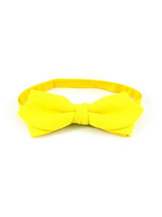 Галстук-бабочка желтый однотонный из льна
