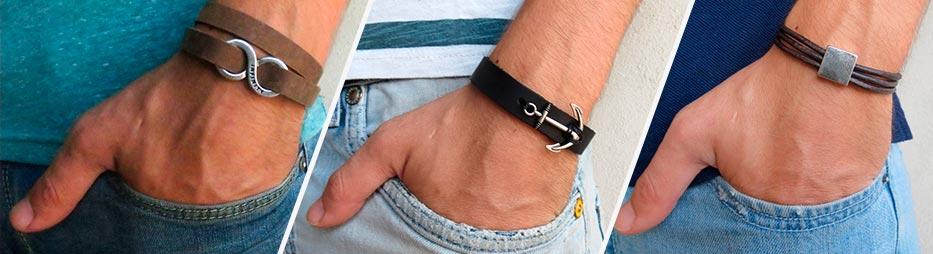 Кожаные мужские браслеты